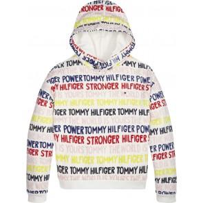Tommy Hilfiger hoodie trui met logo tekst in de kleur wit