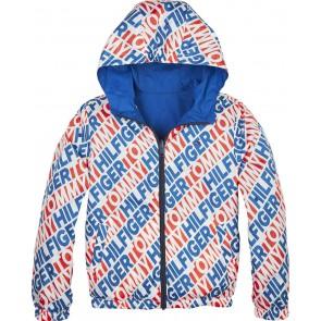 Tommy Hilfiger reversible zomerjas in de kleur kobalt blauw en in de kleur wit met logotekst