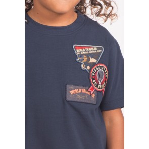 My Brand world traveler t-shirt met patches in de kleur donkerblauw