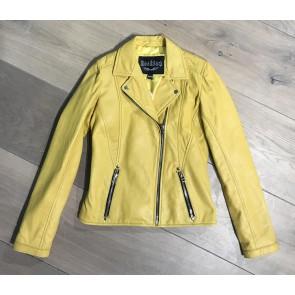 Dekkers leer lamsleren jasje met sterren in de kleur geel