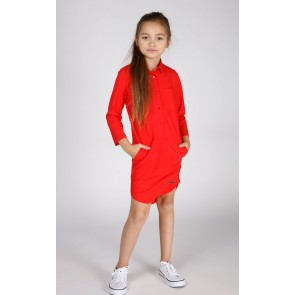 Miss Moscow jurk long blouse van technical jersey in de kleur hibiscus rood