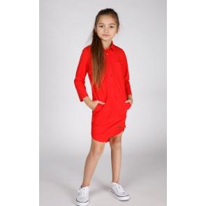 f19fe608ea69e7 Miss Moscow jurk long blouse van technical jersey in de kleur hibiscus rood  ...
