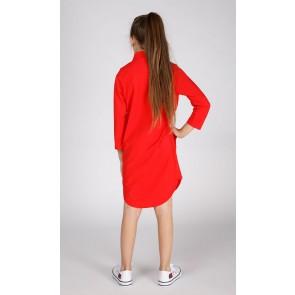 Miss Moscow jurk long blouse van technical jersey in de kleur hibiscus rood