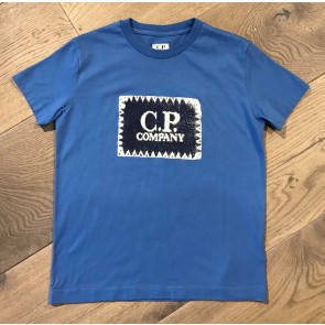 CP Company undersixteen shirt met logo print in de kleur kobalt blauw