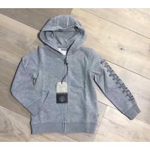 Napapijri sweat vest met capuchon en logo print op de mouw in de kleur grijs