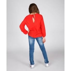 Miss Moscow soepele blouse top in de kleur hibiscus rood