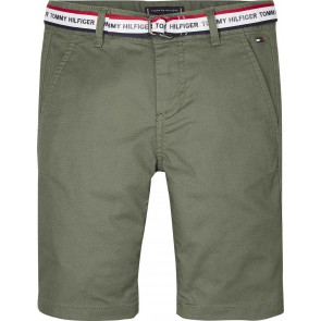 Tommy Hilfiger korte broek met logo riem in de kleur groen