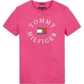 Tommy Hilfiger logo t-shirt in de kleur fuchsia roze