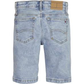 Tommy Hilfiger denim korte broek met logo in de kleur jeansblauw