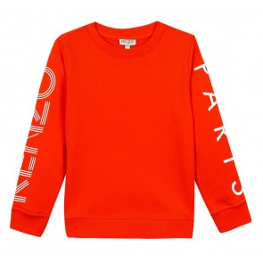 Kenzo kids sweater trui met logo print in de kleur vivid orange oranje