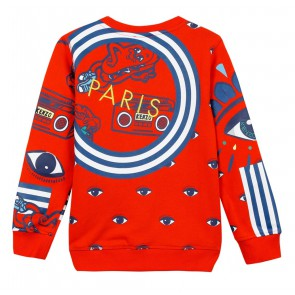 Kenzo kids boys Farlow sweater trui met all-over print in de kleur vivid orange oranje