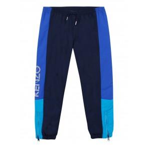 Kenzo kids boys sportieve broek met logo print in de kleur blauw