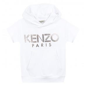Kenzo kids girls sweatshirt met capuchon en gouden letters in de kleur wit
