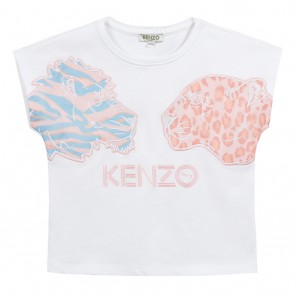 Kenzo kids girls shirt met tiger koppen en pastel tinten in de kleur wit