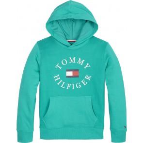 Tommy Hilfiger hoodie trui met logo in de kleur turquoise blauw