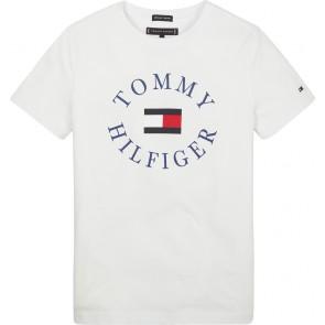 Tommy Hilfiger t-shirt met blauw cirkellogo in de kleur wit