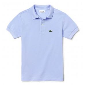 Lacoste kids polo shirt met klein logo in de kleur lichtblauw