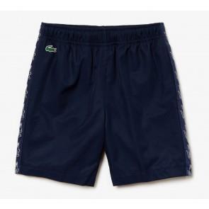 Lacoste kids korte broek met taped logo print in de kleur donkerblauw