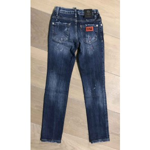 My Brand junior kids washed long skinny jeans met spetters in jeansblauw
