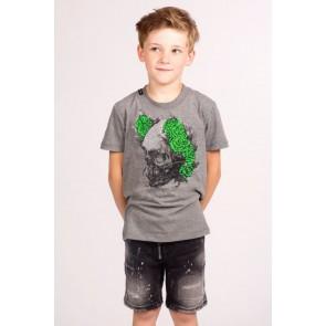 My Brand junior kids skinny short broek met spetters in de kleur donkergrijs