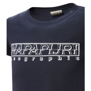 Napapijri t-shirt met logo print in de kleur dark blue donkerblauw