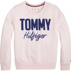 Tommy Hilfiger sweater trui met logo print in de kleur zachtroze