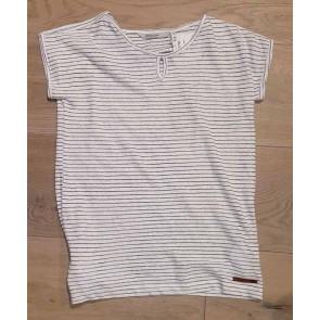 Miss Moscow shirt van linnenmix met fijne streepjes in de kleur off white