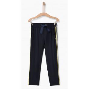 IKKS kids girls soepele pantalon broek met gele bies in de kleur donkerblauw