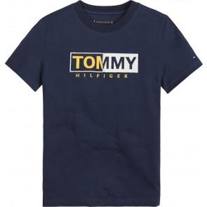Tommy Hilfiger essential shirt graphic tee met logo print in de kleur donkerblauw