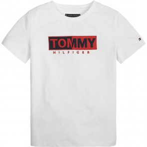 Tommy Hilfiger essential shirt graphic tee met logo print in de kleur wit