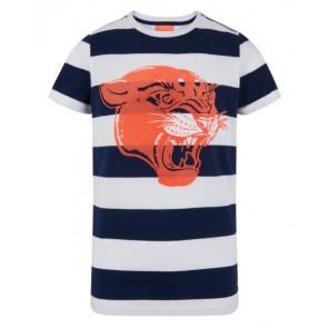 Retour jeans shirt Jilles met brede banen en tijger in de kleur wit/blauw