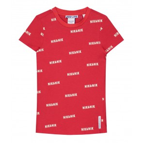 Nik en Nik t-shirt met all-over logo print in de kleur apple red rood