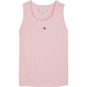 Tommy Hilfiger kids girls wide rib tank top in de kleur zachtroze