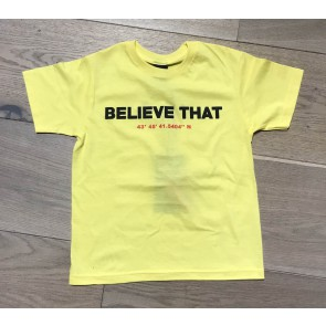 Believe that t-shirt met logo print in de kleur geel