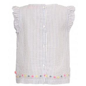 Le big top blousje met roezels en glitter strepen in de kleur wit