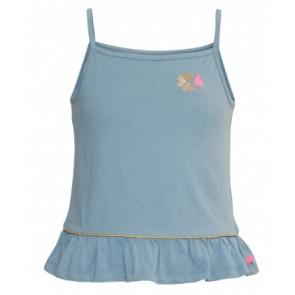 Le big hemd/top met roezel rand in de kleur ijsblauw