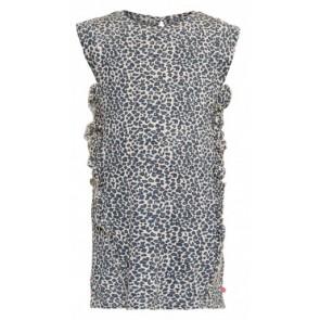 Le big panterprint jurk met roezels in de kleur lichtblauw