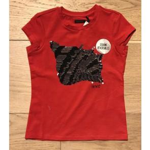 IKKS girls (wrijf)t-shirt met schelp in de kleur rood