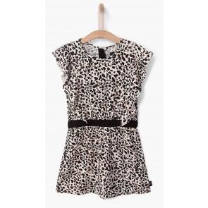 IKKS print jurk met roezels cold shoulder in de kleur off white/zwart