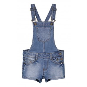 Nik en Nik korte tuinbroek tuinpak Floyo dungarees shorts in de kleur jeansblauw
