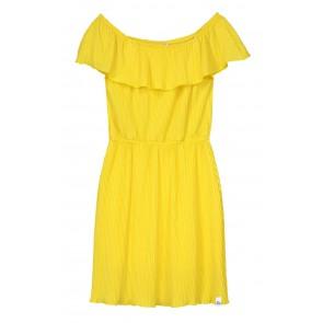 Nik en Nik plisée jurk Bianca in de kleur sunny yellow geel