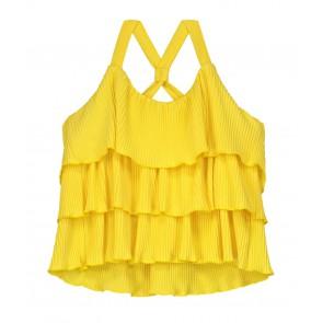 Nik en Nik plisée Lada top in de kleur sunny yellow geel