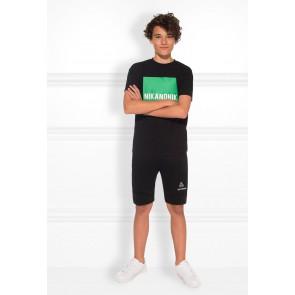 Nik en Nik marten t-shirt met logo print in de kleur groen/zwart