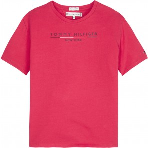 Tommy Hilfiger kids girls essential hilfiger shirt in de kleur fuchsia roze