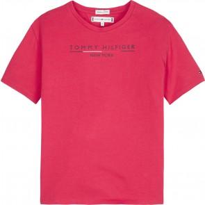 Tommy Hilfiger kids girls essential hilfiger shirt in de kleur fuchsia roze