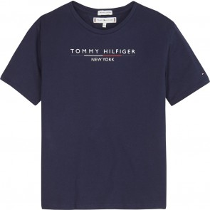 Tommy Hilfiger kids girls t-shirt logo print essential hilfiger tee in de kleur donkerblauw