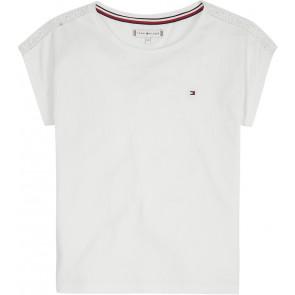 Tommy Hilfiger kids girls top lace tommy tape tee shirt in de kleur wit