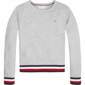 Tommy Hilfiger kids girls fijngebreide essential global stripe sweater in de kleur grijs