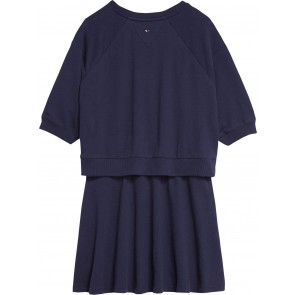 Tommy Hilfiger kids girls jurk lurex flag knit dress in de kleur donkerblauw