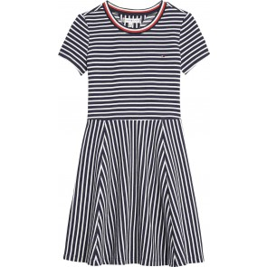 Tommy Hilfiger kids girls stripe knit skater dress jurk in de kleur blauw/wit